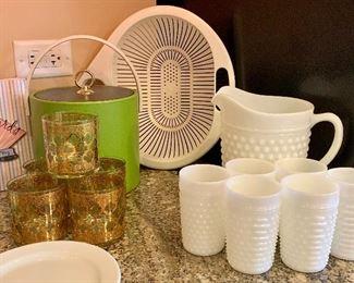Hob-nail Milk Glass pitcher and 6 glasses