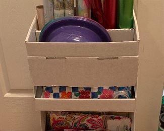 Paper roll storage, bows, etc.