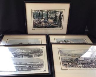 Set of 5 historical framed prints. https://ctbids.com/#!/description/share/189873