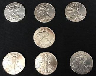 7 American silver eagle dollars - 1 oz Fine silver    https://ctbids.com/#!/description/share/189884