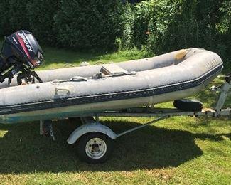 Bombard AX500. 10 feet. 880lb capacity. Motor needs carburetor cleaning-$200 estimate from local marina.