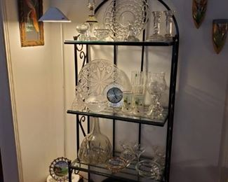 Vintage glass & crystal.  Several baker's racks.