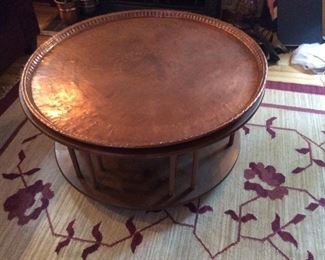 Large copper tray table topper