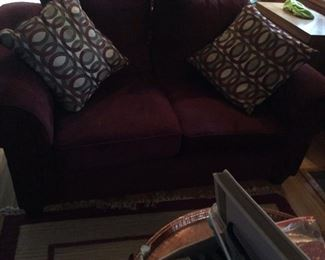 Burgundy love seat