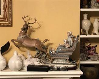 Lladro Reindeer & Sleigh