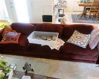 Tuxedo style long sofa