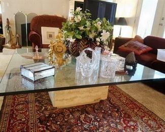Coffee table and tribal rug
