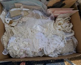 We now have 6 boxes of Trims, Lace, Appliques, Fringe and more.