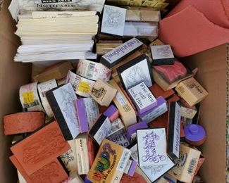 Rubber stamps, rolling stamps, stamp sets mostly by Stamping Up!  Lots of great stamp pads too.
