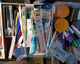 New in the package and gently used artists paint brushes.