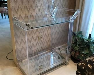 LUCITE CART AND WATERFORD VASE