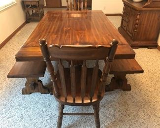 Dining room table, 2 chairs, 2 Benches & Hutch 50+ years old purchased at Rockford Standard Furniture