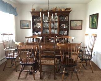 Mid Century Solid Pine Dining Room Set