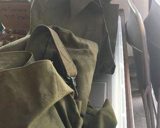 Army duffle bag and rain coat