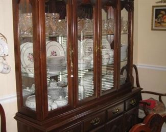 China cabinet with lights and flatware storage