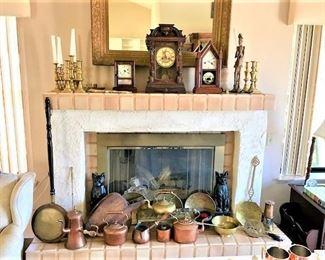 Mantle Clocks, Andirons, Copper Pots, Bed Warmer & Antique Bellow.