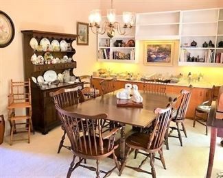 Willet Marblehead Cherry Dining Table w/3 Extensions & 6 Chairs
