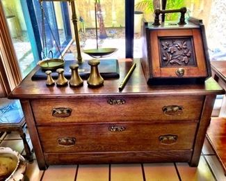 G.A. Wedderburn Scale with Weights and Antiques Fireplace Bin with Shovel