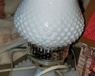 Hobnail lamp, also glassware available.