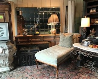 Kreiss chaise lounge- mirrors in background from Pottery Barn.