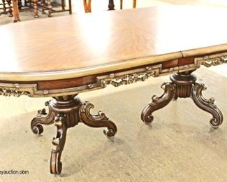 7 Piece Contemporary oval Dining Room Table with Fancy Carved Skirts and Legs with 6 Upholstered Medallion Back Chairs  Auction Estimate $300-$600 – Located Inside