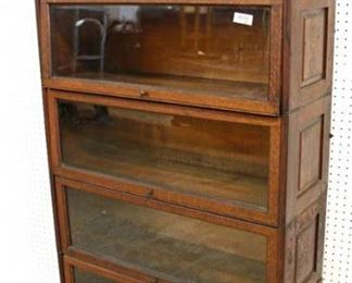 "ANTIQUE Oak ""Lundstrom Furniture Company"" 5 Stack Bookcase with Leaded Glass Top  Auction Estimate $500-$1000 – Located Inside"