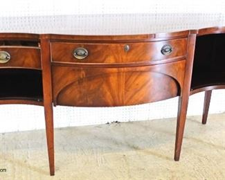BEAUTIFUL Burl Mahogany Taper Leg Serpentine Front Buffet  Auction Estimate $700-$1500 – Located Inside