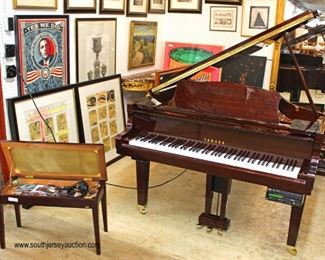 ABSOLUTELY BEAUTIFUL Lacquer Mahogany Yamaha Baby Grand Piano with Player, Bench, Disk, and Cd's  Auction Estimate $2000-$5000 – Located Inside