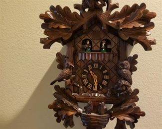 Hones Carved Owls Cuckoo Clock