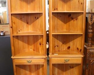 PAIR of Country Style Pine Contemporary One Drawer Corner Shelf Units  Auction Estimate $200-$400 – Located Inside