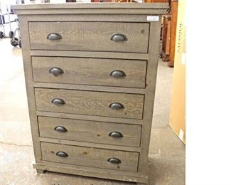NEW in Rustic Finish Grey Style 5 Drawer High Chest  Auction Estimate $200-$400 – Located Inside