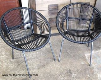 PAIR of Modern Design Chrome Leg Rattan Style Lounge Chairs  Auction Estimate $100-$300 – Located Inside