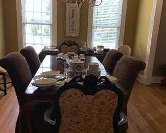 Chippendale style dining table with three leaves