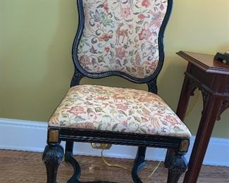 William and Mary style chairs with gilded crest; one arm and three sides