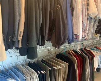 Men's clothes, including cashmere jackets and suits from Jos A.Banks