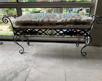 Wrought iron bench with custom made cushion