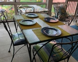 Vintage outdoor table and four chairs