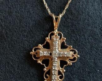 14K gold cross with diamonds pendant