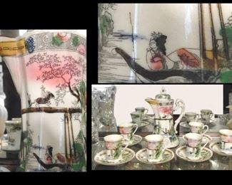 14 Piece Japanese China Tea or Coffee Server Cups Plates.