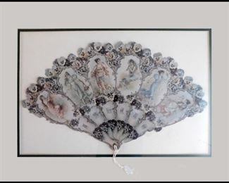 A Token of Love Victorian Reproduction Framed Fan.