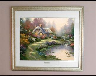 bob Framed Print Everetts Cottage by Thomas Kinkade