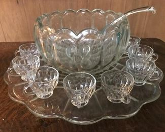 LE Smith vintage 15 piece punch bowl set