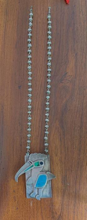 Graziella Laffi Modernist sterling & enameled pendant.