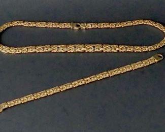 14k Byzantine necklace and bracelet.