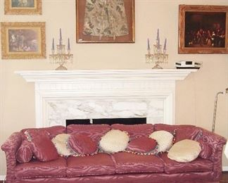 "Pretty ""pink"" brocade sofa in excellent condition custom everything w/ pillows, of course"