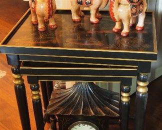Pr. Nesting Tables w/ Oriental Theme, set of 3 Neiman Marcus Camel Candle holders