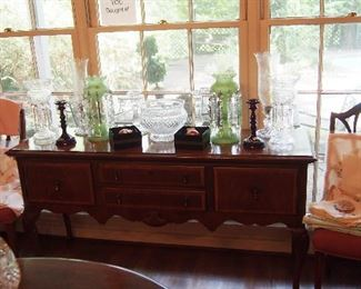 Fine Sideboard covered w/ Vintage Baccarat Candle holders and Art Glass