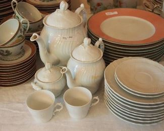 Mid Century White Luncheon set (partial)