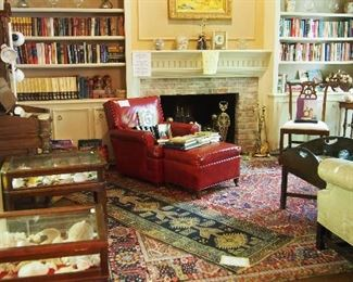 Glorious Library filled with books, shell collection and more