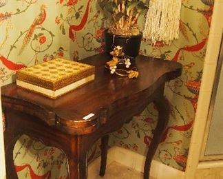 Great Vintage Game Table, Italian tole box and candle holder